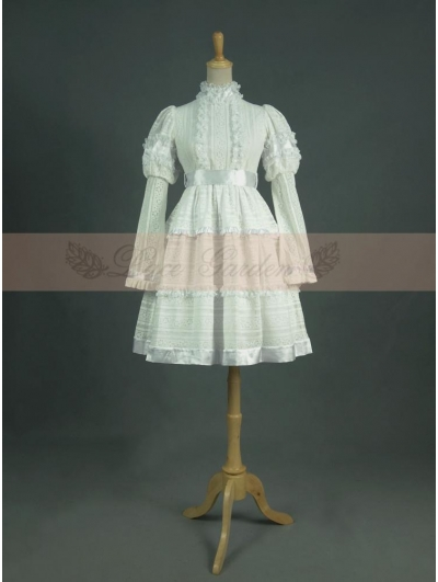Vintage White Cotton Long Sleeves Classic Lolita Dress