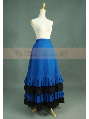 Blue and Black Cotton Vintage Victorian Skirt
