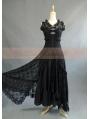 Black Lace Sleeveless Vintage Victorian Dress