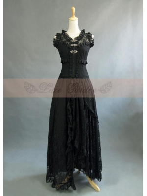 Black Lace Sleeveless Vintage Victorian Dress