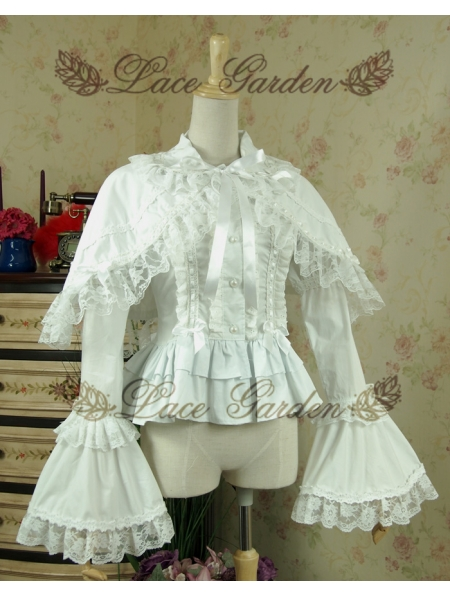 White Sweet Rococo Lolita Blouse For Women Devilnight Co Uk