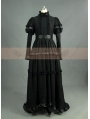 Romantic Black Cotton Long Sleeves Gothic Victorian Dress