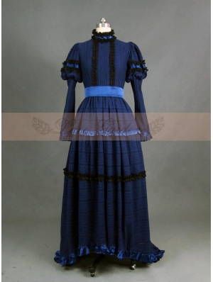 Romantic Blue Cotton Long Sleeves Gothic Victorian Dress