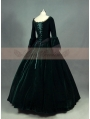 Green and Black Velvet Lace Victorian Ball Gowns