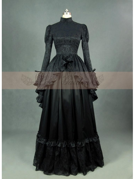 Black Satin Long Sleeves Gothic Victorian Dress ...