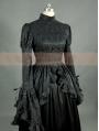 Black Satin Long Sleeves Gothic Victorian Dress