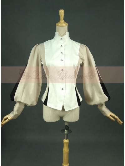 Cotton Long Sleeves Vintage Victorian Blouse for Women
