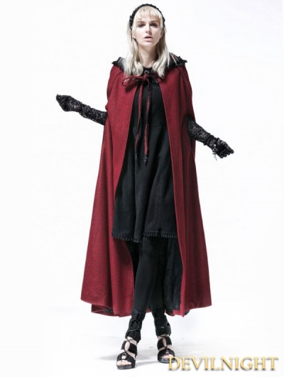 Wine Red Hooded Gothic Cape for Women