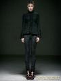 Black Cotton Gothic Jacquard Blouse for Women