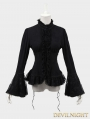 Black Cotton Gothic Jacquard Blouse for Women