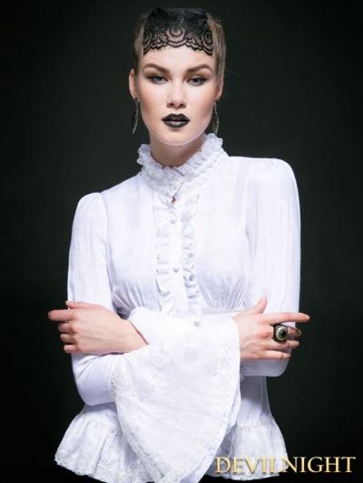 White Cotton Gothic Jacquard Blouse for Women