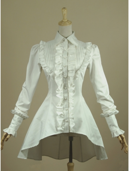 White High Low Gothic Blouse For Women Devilnight Co Uk
