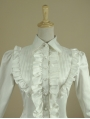White High-Low Gothic Blouse for Women