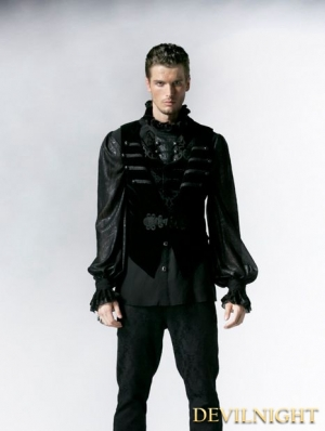 Black Gothic Velveteen Detachable Vest with Swallow Tail for Men