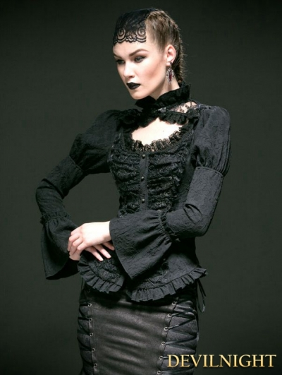 Black Woven Long Sleeves Gothic Blouse for Women