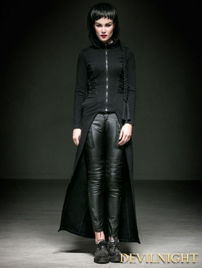 Black Cotton Gothic Punk Hooded Coat for Women