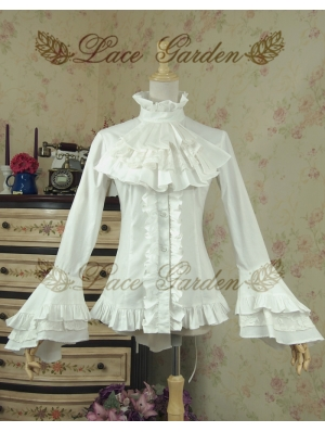 White Long Sleeves Gothic Blouse for Women