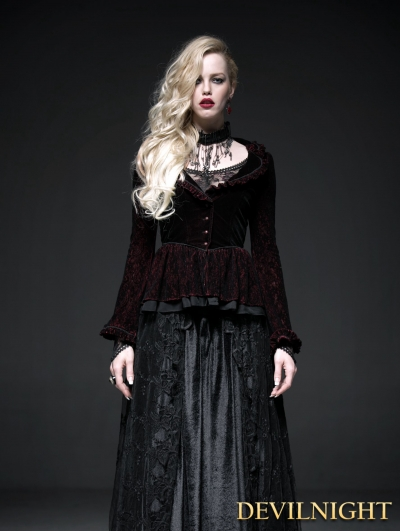 Wine Red Gothic Two-Tone Plain Flocking Mesh Long Sleeves Outfit for Women