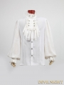 White Gothic Long Sleeves Chiffon Emnossing Blouse for Men