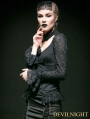 Black Lace and Cotton Long Sleeves Gothic Sexy Shirt for Women