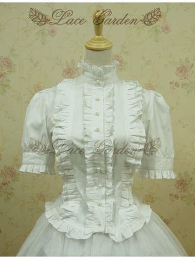 White Short Sleeves Lolita Blouse