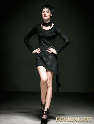 Black Cotton Asymmetric Gothic Punk Dress