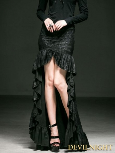 Black Gothic Lace High-Low Tailed Skirt