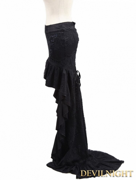 black lace high low tailed skirt devilnight co uk
