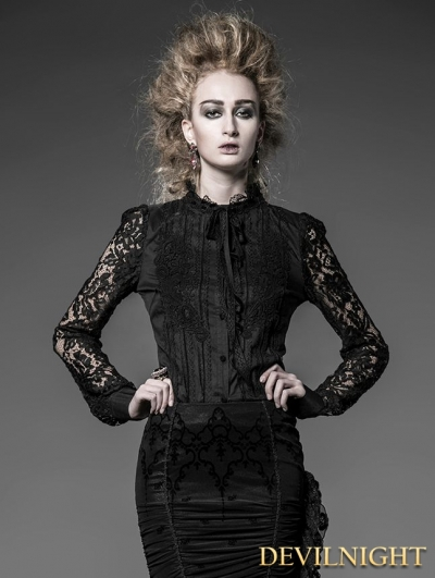 Black Cotton and Lace Gothic Blouse for Women