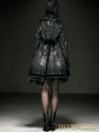 Lolita Butterfly Flocking Rose Button Long Coat with Hat