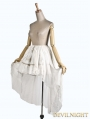 White High-Low Chiffon and Lace Gothic Lolita Skirt