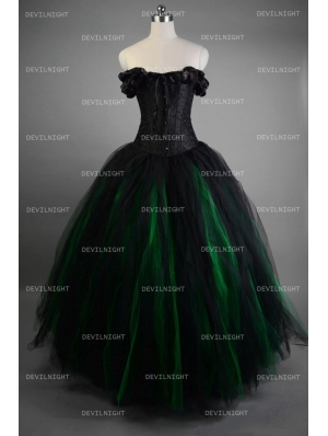 Romantic Black and Green Vintage Gothic Corset Long Prom Dress