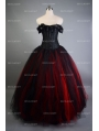 Romantic Black and Red Vintage Gothic Corset Long Prom Dress