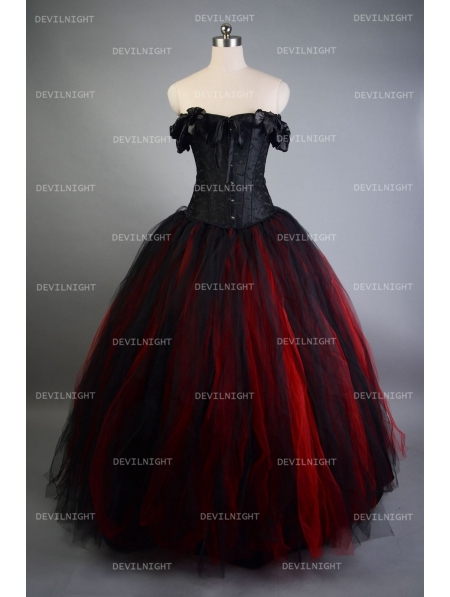 romantic black and red vintage gothic corset long prom