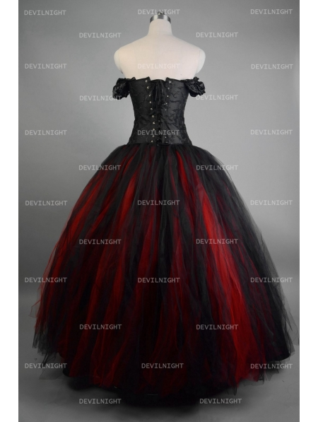 Romantic Black and Red Vintage Gothic Corset Long Prom Dress ...