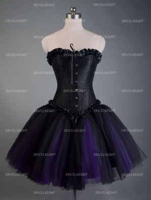 Fashion Black and Purple Short Gothic Corset Burlesque Party Dress