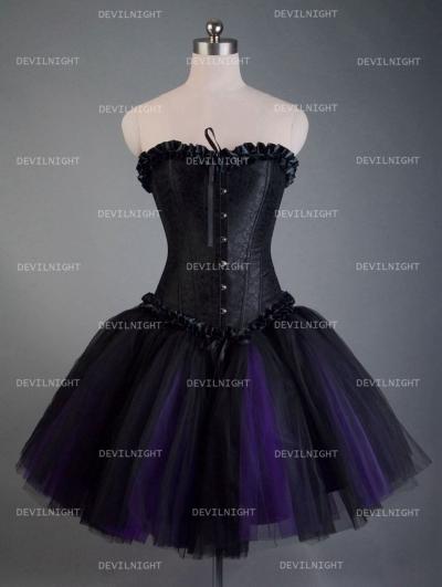 Fashion Black and Purple Short Gothic Corset Burlesque Party Dress