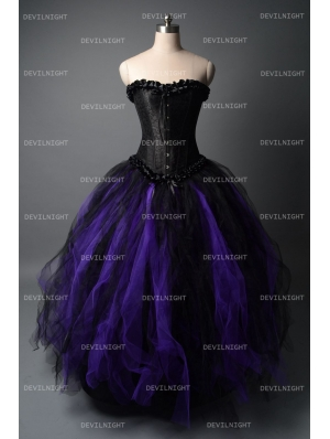 Romantic Black and Purple Gothic Corset Long Prom Dress