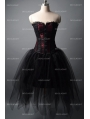 Fashion Black and Wine Red Short Gothic Corset Burlesque Party Dress