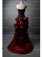 Fashion Black and Red Gothic Corset Burlesque Prom Party Dress