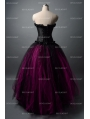 Black and Fuchsia Gothic Corset Burlesque Long Prom Party Dress