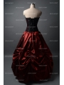Black and Wine Red Gothic Corset Burlesque Prom Party Dress