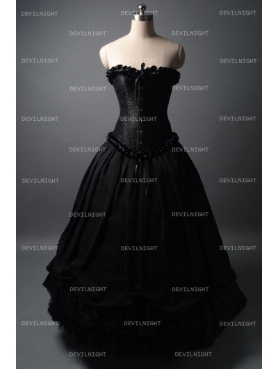 Romantic Black Gothic Corset Long Prom Party Dress
