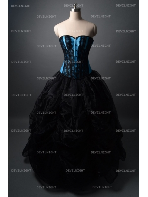 Fashion Black and Blue Gothic Corset Burlesque Long Prom Party Dress