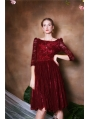 Wine Red Lace Elegant Vintage 1950s dress