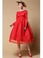 Red Backless Vintage 1950s Party Dress