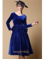 Blue Velvet Elegant Vintage 1950s Dress