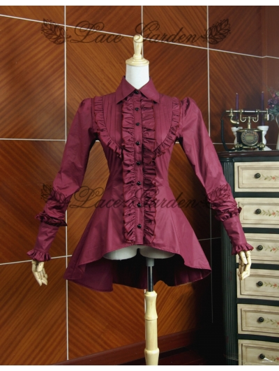 Red High-Low Gothic Blouse for Women