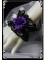 Black Lace Purple Rose Gothic Lolita Bracelet