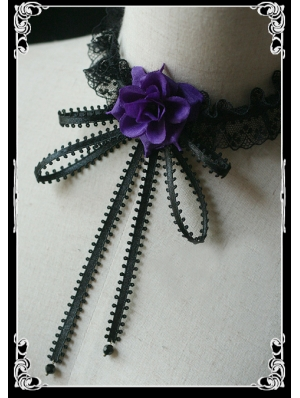Purple Roses Black Lace Ribbon Gothic Necklace